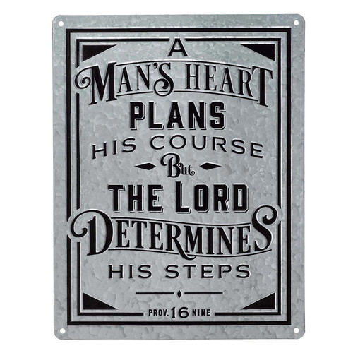 A Man's Heart Vintage Metal Sign - Proverbs 16:9