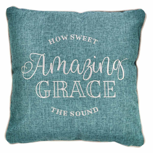 Amazing Grace Embroidered Square Pillow
