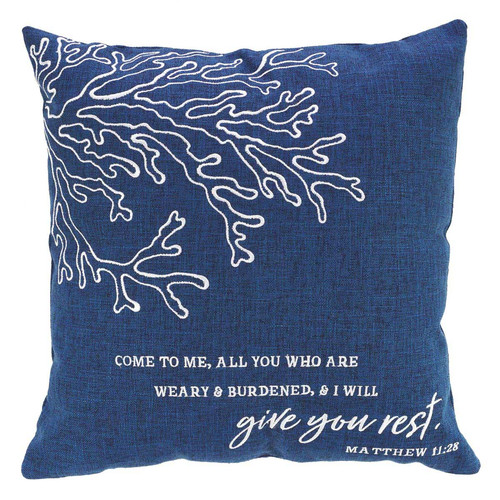 Give You Rest Square Pillow in Navy