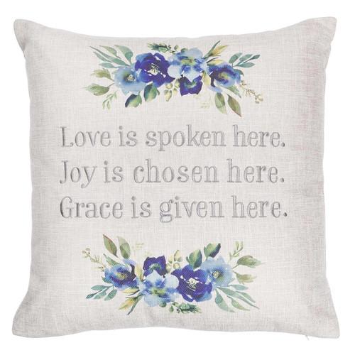 Love Joy Grace Square Decorative Pillow in Light Grey