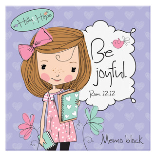 """""""Holly & Hope: Be Joyful"""" Memo Block - Rom 12:12"""