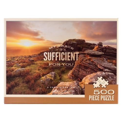 My Grace is Sufficient Sunset 500-piece Jigsaw Puzzle - 2 Corinthians 12:9