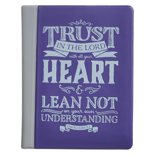 Trust in the Lord Soft Vinyl Photo or Card Wallet in Purple - Proverbs 3:5