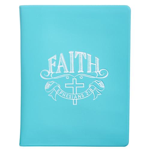 Faith Soft Vinyl Photo or Card Wallet in Aqua - Ephesians 2:8