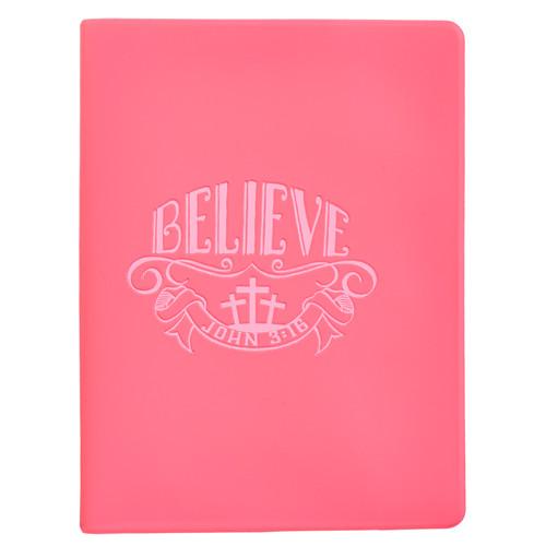 Believe Soft Vinyl Photo or Card Wallet in Pink - John 3:16