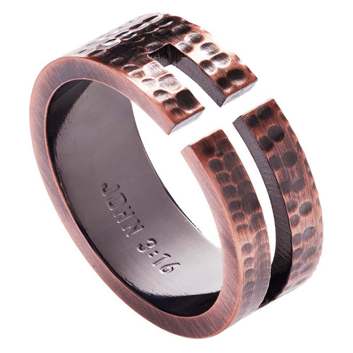 Cross Cutout - John 3:16 Mens Ring