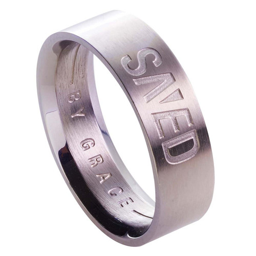 Save by Grace - Ephesians 2:8 Mens Ring