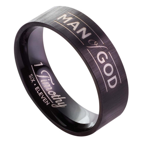 Man of God, Black - 1 Timothy 6:11 Mens Ring