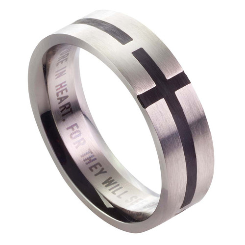Black Cross - Matthew 5:8 Mens Ring