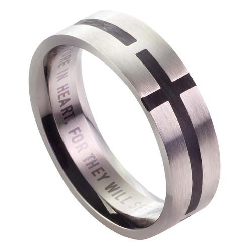 Black Cross - Matthew 5:8 Men's Ring