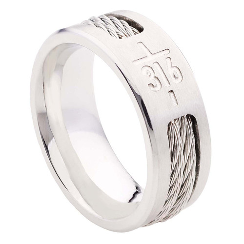 John 3:16 Cross Mens Ring