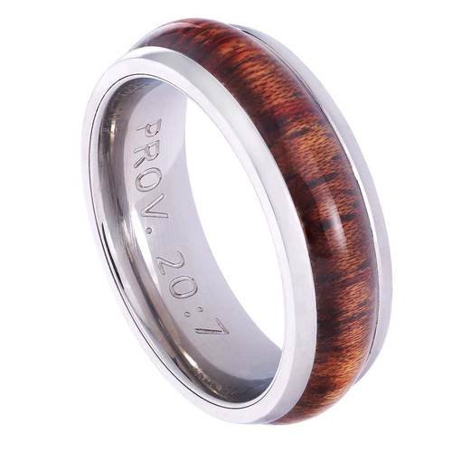 Stainless Steel Mens Ring with Wood Accent: Righteous Man - Proverbs 20:7