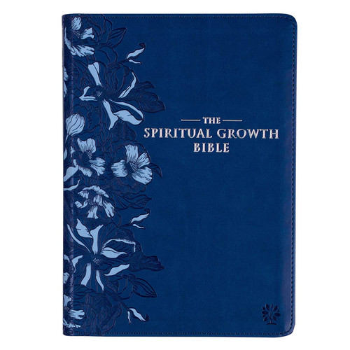 Navy Blue Faux Leather Spiritual Growth Bible