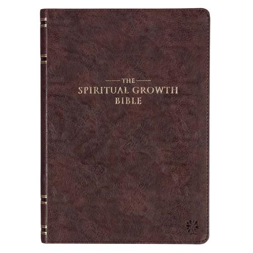 Espresso Brown Faux Leather Spiritual Growth Bible