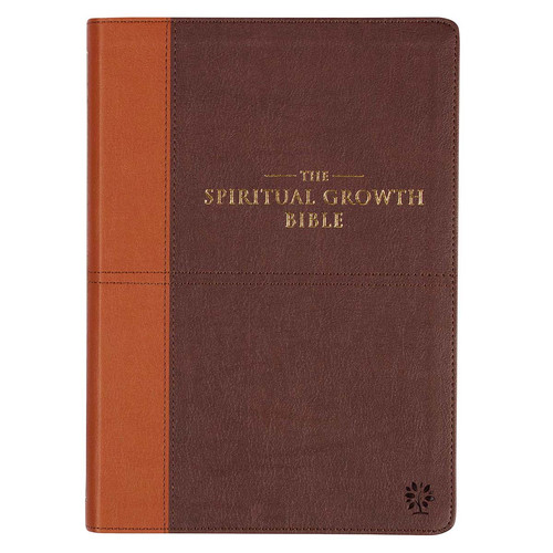 Two-tone Espresso and Toffee Brown Faux Leather Spiritual Growth Bible