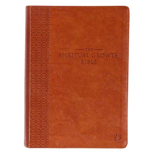 Saddle Tan Faux Leather Spiritual Growth Bible