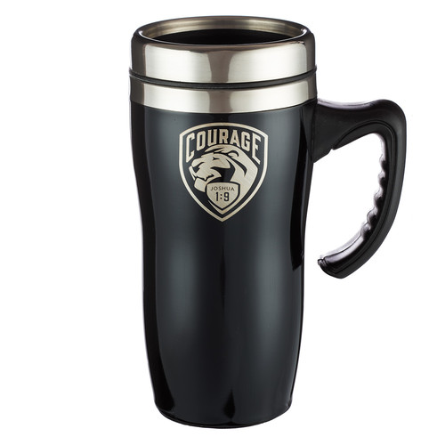Courage Stainless Steel Travel Mug With Handle - Joshua 1:9