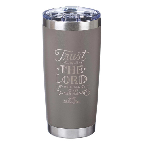 Trust In The Lord Stainless Steel Mug in Taupe - Proverbs 3:5
