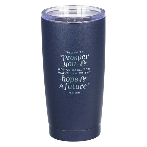 Hope & a Future Navy Stainless Steel Mug - Jeremiah 29:11