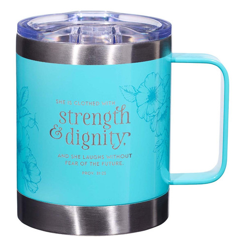 Strength & Dignity Teal Camp Style Stainless Steel Mug - Proverbs 31:25