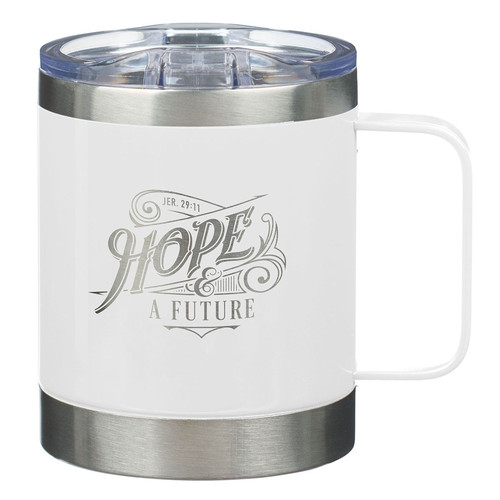 Hope and a Future White Camp Style Stainless Steel Mug - Jeremiah 29:11