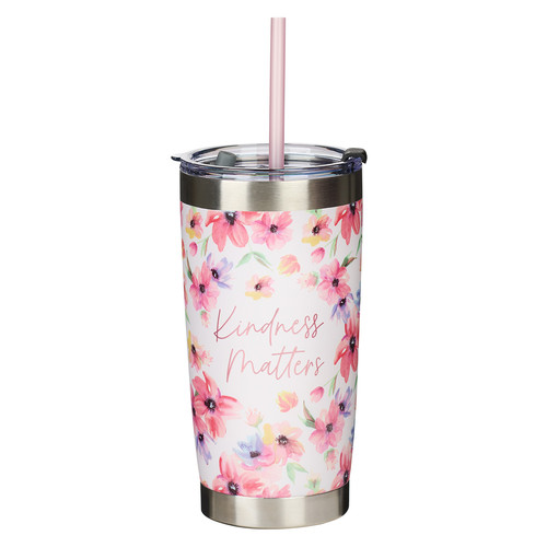 Kindness Matters Pink Cosmos Stainless Steel Travel Mug with Reusable Straw