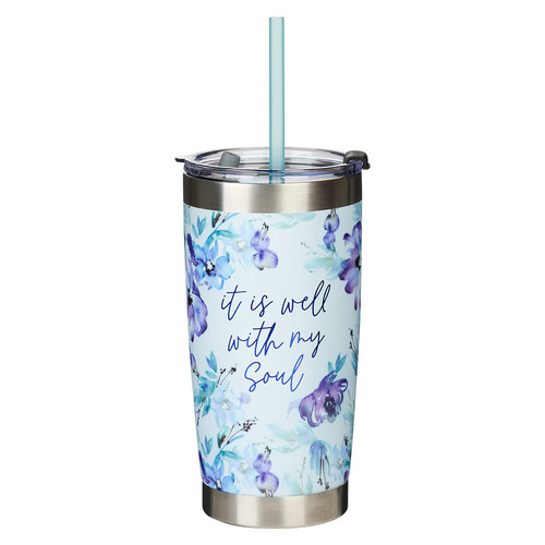 It Is Well With My Soul Purple Posies Stainless Steel Travel Mug with Reusable Straw