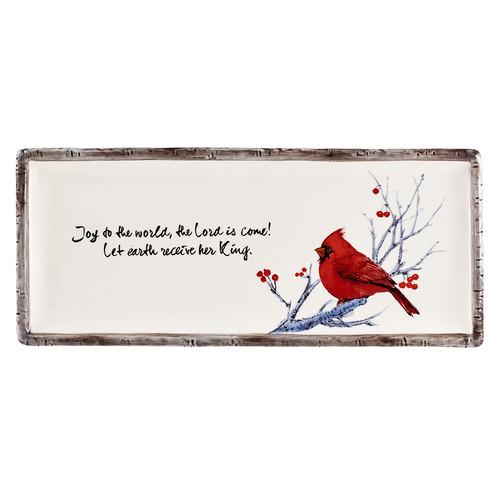 Christmas Birds Rectangular Christmas Cookie Plate