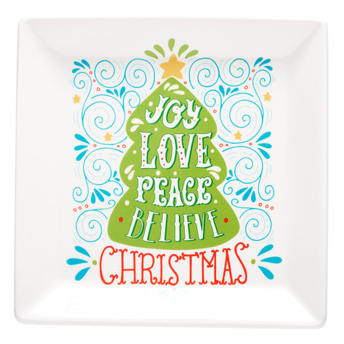 Joy Love Peace Square Christmas Serving Plate
