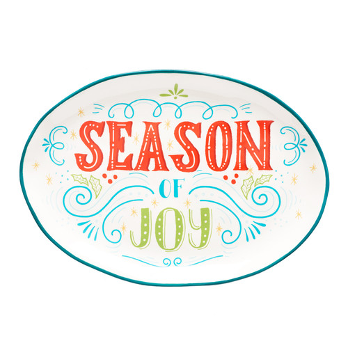 Oval Christmas Serving Plate: Season of Joy