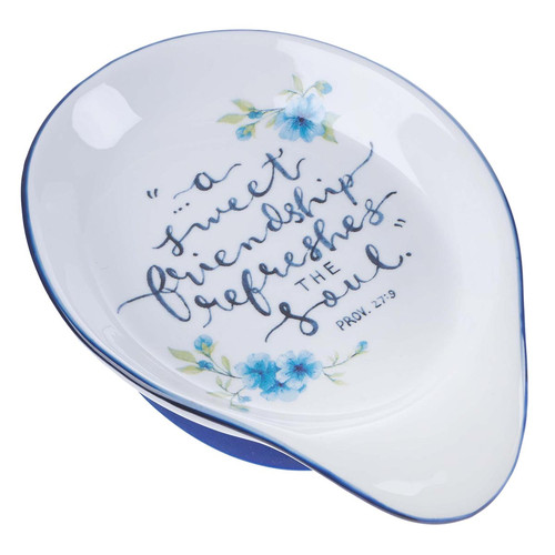 Sweet Friendship Ceramic Spoon Rest - Proverbs 27:9