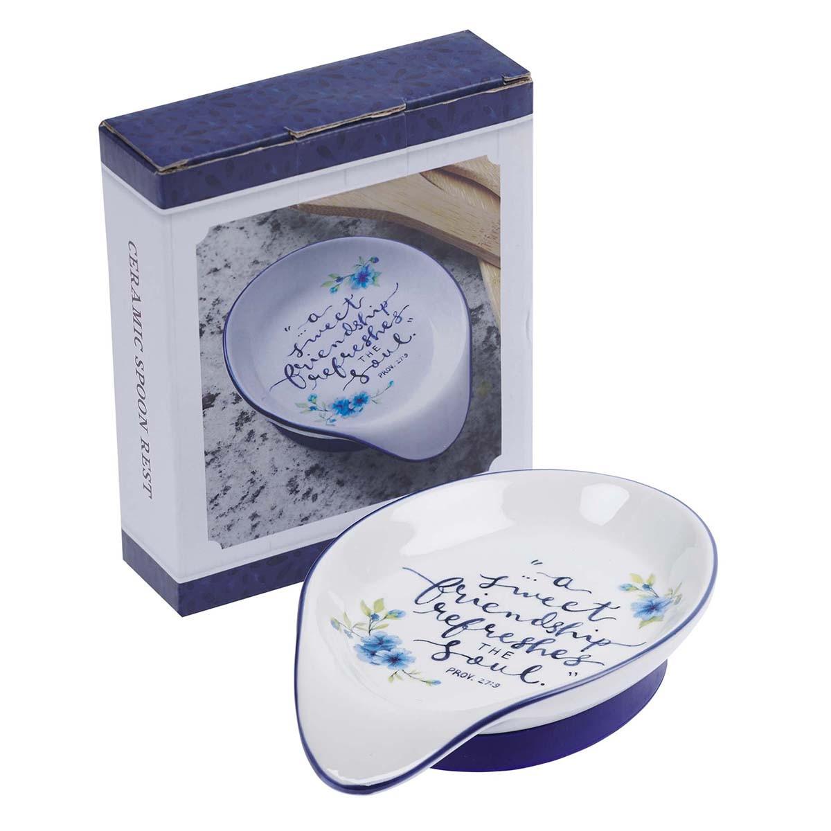 Sweet Friendship Ceramic Spoon Rest Proverbs 27 9