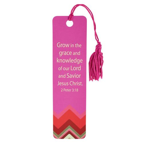 Chic Chevron Grow in Grace Bookmark - 2 Pet 3:18