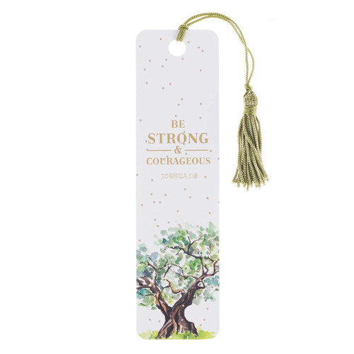 Strong & Courageous Bookmark with Tassel - Joshua 1:9