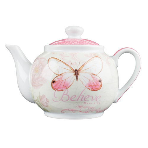 Believe Pink Butterfly Blessings Tea Pot - Mark 9:23
