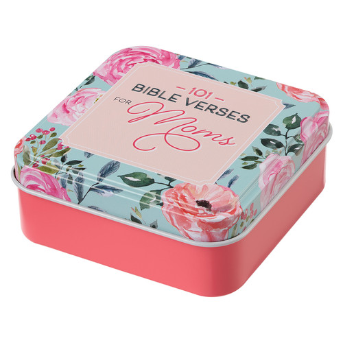 101 Bible Verses For Moms Pink Scripture Cards in a Tin