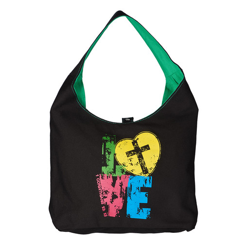 LOVE Canvas Hobo Tote Bag for Women