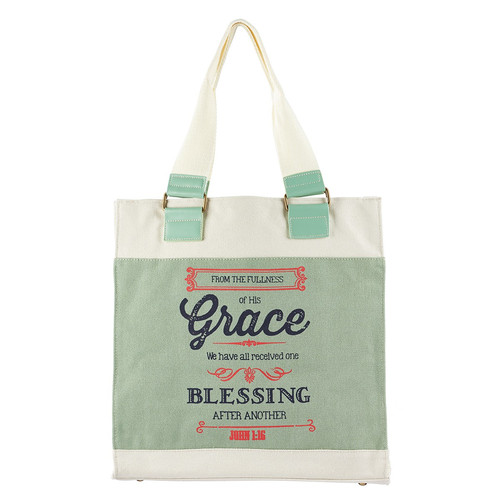 Grace Retro Blessings Canvas Tote Bag - John 1:16