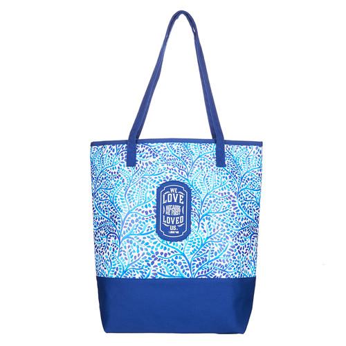 Blue Small Prints Canvas Tote Bag - 1 John 4:19