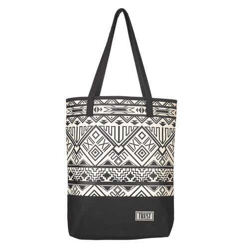Black & White Geometric Canvas Tote Bag w/Trust Badge