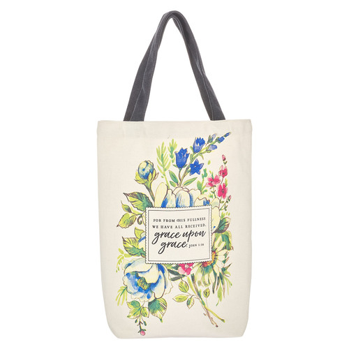 Cotton Tote Bag: Grace Upon Grace - John 1:16