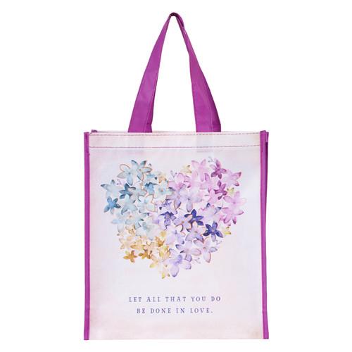 Violet Floral Heart Tote Bag