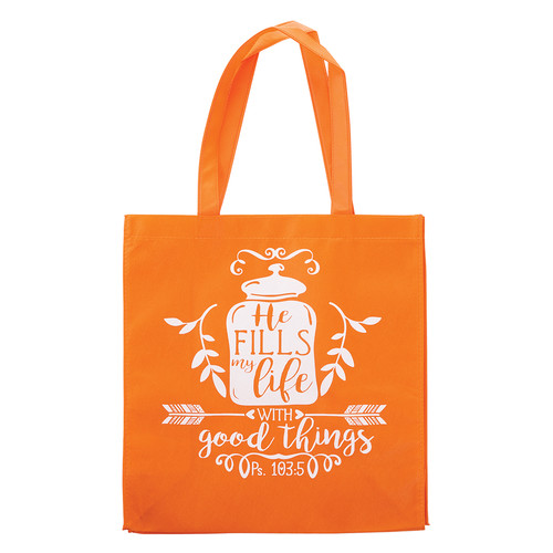 He Fills My Life Tote Bag - Psalm 103:5