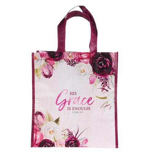His Grace is Enough Plum Pink Non-Woven Tote Bag - 2 Corinthians 12:9
