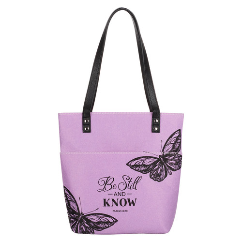 Be Still and Know Purple Butterfly Fashion Felt Bible Tote Bag - Psalm 46:10
