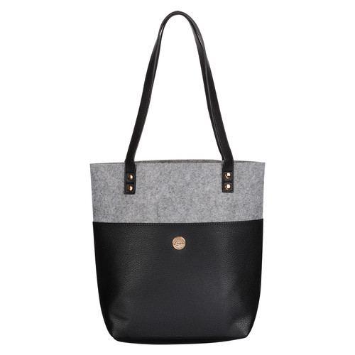 Love Never Fails Two-tone Black and Heather Gray Felt Fashion Bible Tote Bag - 1 Corinthians 13:8
