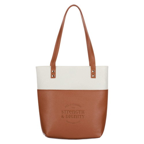 Strength & Dignity Two-tone Toffee and Cream Felt Fashion Bible Tote Bag - Proverbs 31:25
