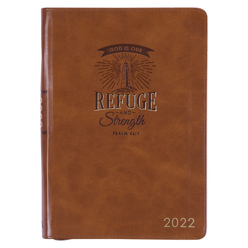 Refuge and Strength Brown Faux Leather Executive Planner - 2022