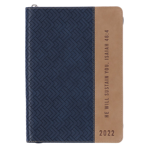 He Will Sustain You Navy & Taupe Faux Leather Executive Planner - 2022