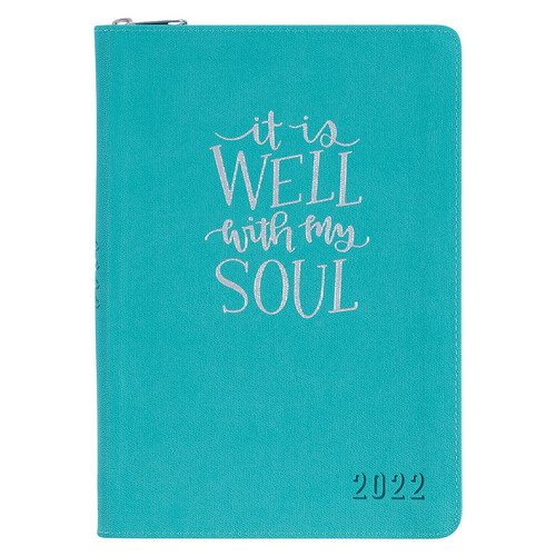 It Is Well With My Soul Teal Faux Leather Executive Planner - 2022